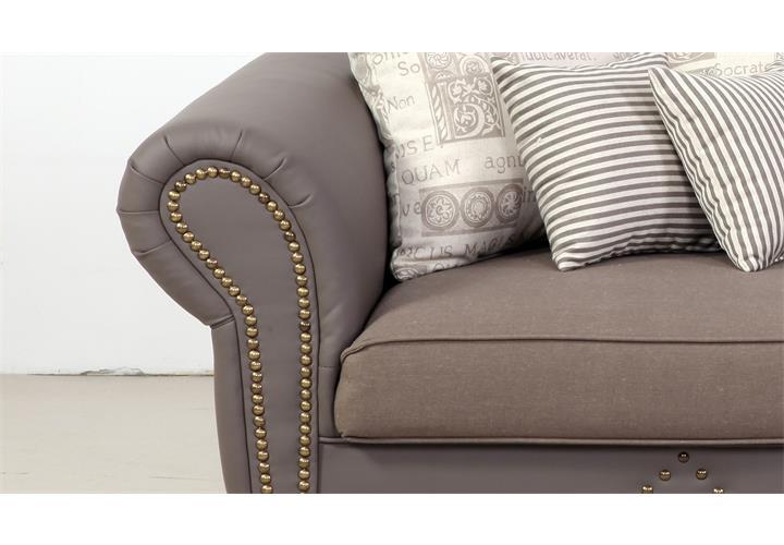 big sofa carlos lederlook taupe webstoff beige grau. Black Bedroom Furniture Sets. Home Design Ideas