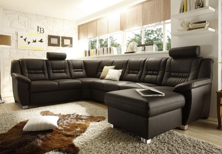 wohnlandschaft vario mit relaxfunktion und g stebett komplette sitzgruppe dunkel ebay. Black Bedroom Furniture Sets. Home Design Ideas