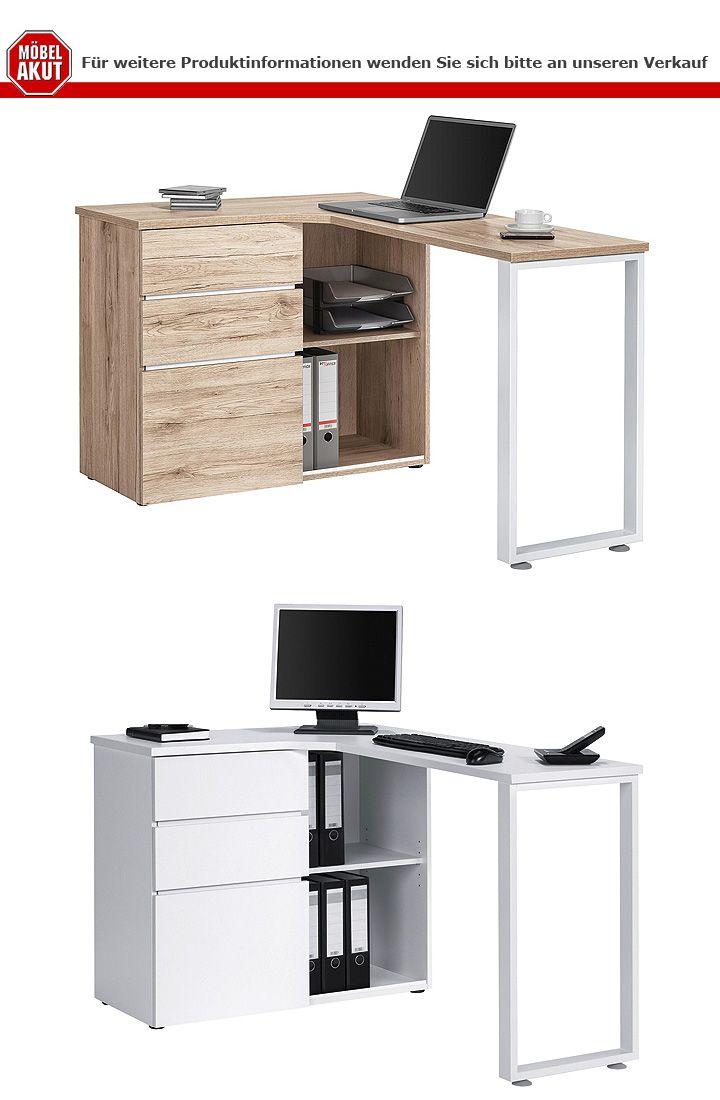 computertisch maja 4057 schreibtisch pc tisch b rotisch tisch in wildeiche wei ebay. Black Bedroom Furniture Sets. Home Design Ideas