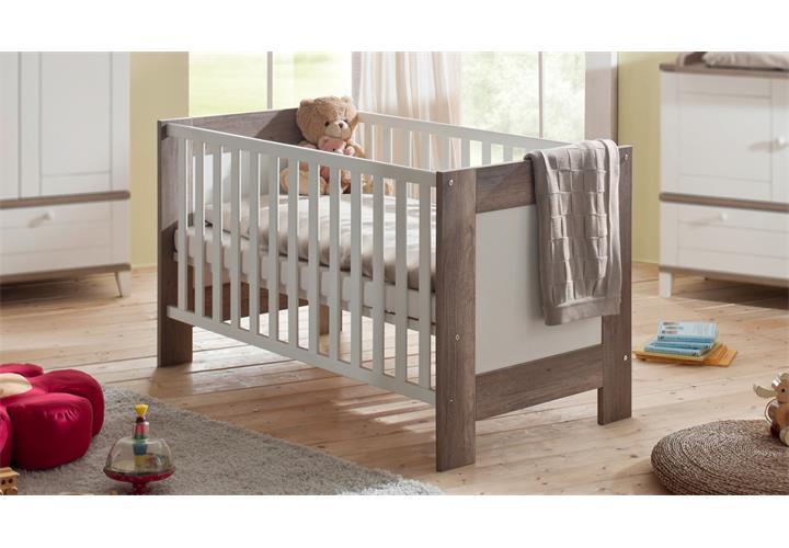 babybett bella wildeiche tr ffel und wei matt. Black Bedroom Furniture Sets. Home Design Ideas