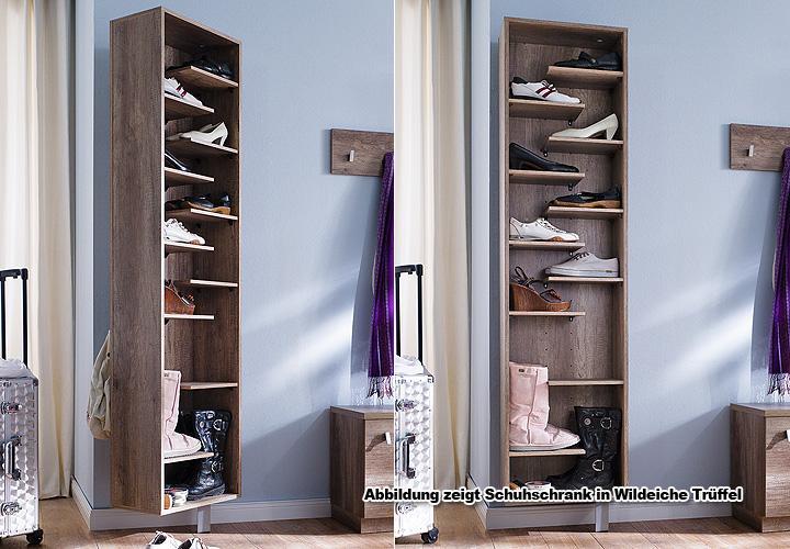 Schuhschrank woody ii schuhregal garderobe in wei drehbar for Wohnwand xynto