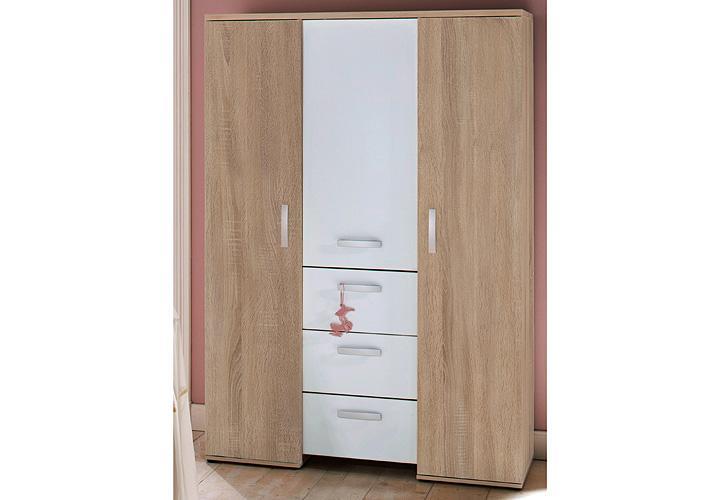 kleiderschrank michi sonoma eiche s gerau und wei matt. Black Bedroom Furniture Sets. Home Design Ideas