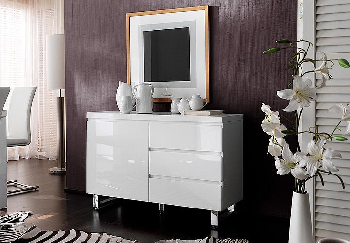 sideboard sydney kommode hochglanz lack wei chrom neu ebay. Black Bedroom Furniture Sets. Home Design Ideas