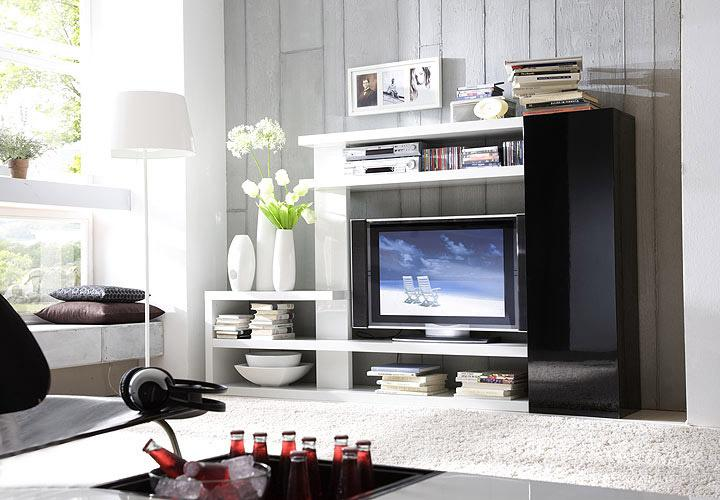 tv rack tunis wei schwarz hochglanz. Black Bedroom Furniture Sets. Home Design Ideas