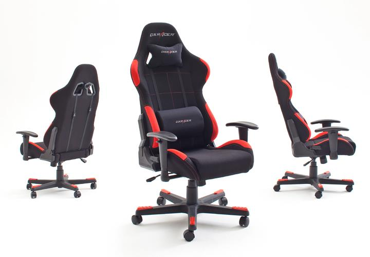 schreibtischstuhl dx racer 1 b rostuhl game chair in schwarz und rot ebay. Black Bedroom Furniture Sets. Home Design Ideas