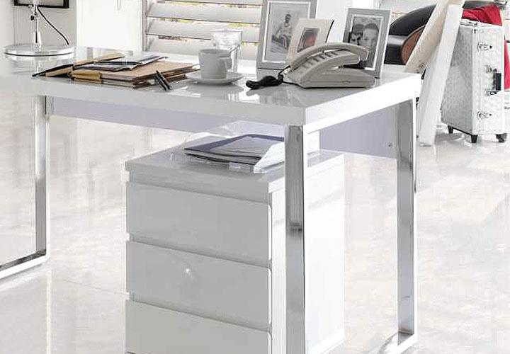 SYDNEY Schreibtisch Weiß Hochglanz + Chrom