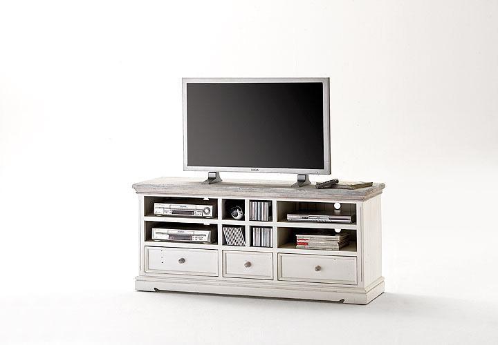 tv board 2 opus lowboard in kiefer massiv wei vintage. Black Bedroom Furniture Sets. Home Design Ideas