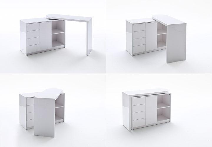 schreibtisch vivor mit regal schrank wei hochglanz lack. Black Bedroom Furniture Sets. Home Design Ideas