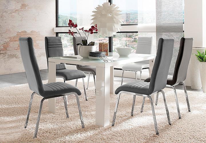 esstischgruppe zion nora hochglanz wei grau. Black Bedroom Furniture Sets. Home Design Ideas