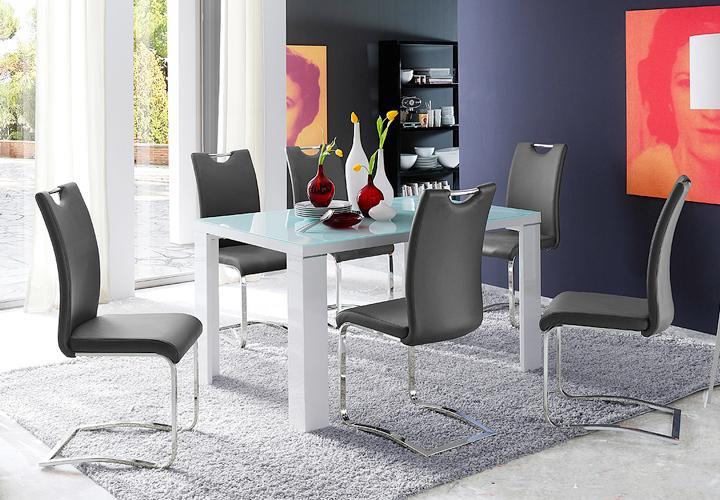 stuhl k ln freischwinger 4er set in grau und chrom. Black Bedroom Furniture Sets. Home Design Ideas