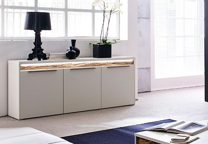 sideboard viola wei matt lackiert eiche massiv inkl led. Black Bedroom Furniture Sets. Home Design Ideas