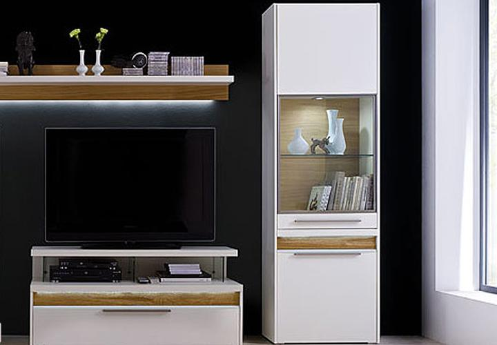 viola vitrine rechts wei matt lackiert eiche massiv led. Black Bedroom Furniture Sets. Home Design Ideas