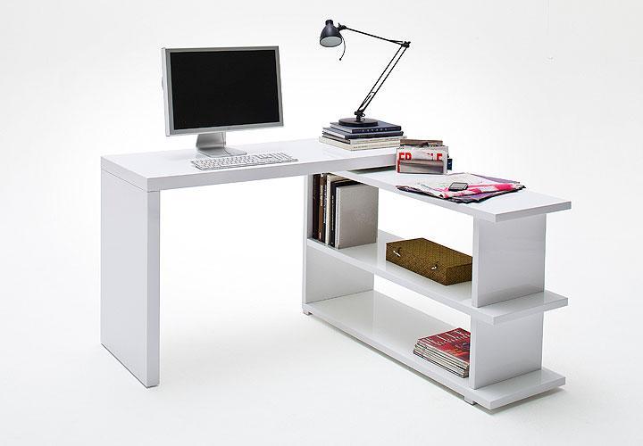 trudi schreibtisch mit regal wei hochglanz lackiert. Black Bedroom Furniture Sets. Home Design Ideas