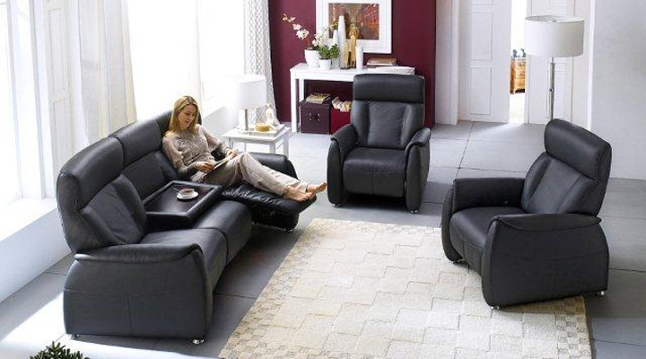 sofa tessa 3 sitzer fernsehsessel mit funktion echtes leder in schwarz ebay. Black Bedroom Furniture Sets. Home Design Ideas