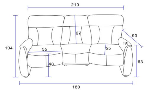 Sofa tessa 3 sitzer fernsehsessel mit funktion echtes for Fernsehsessel mit funktion