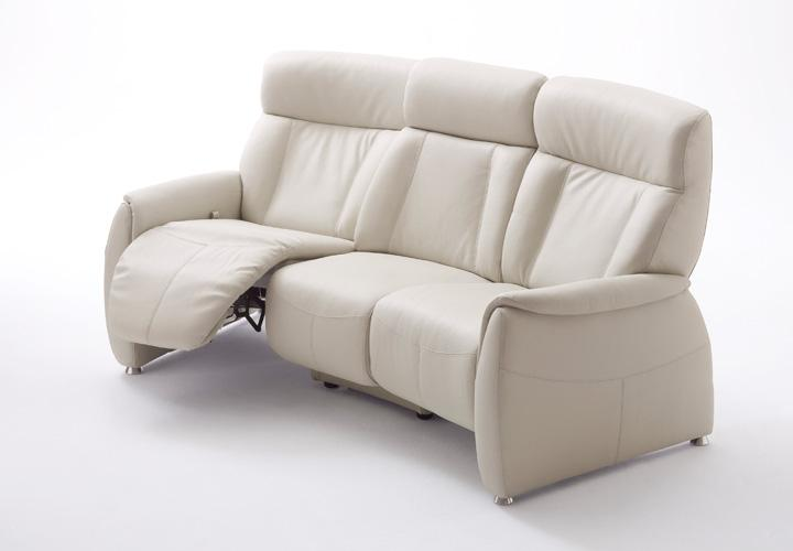 sofa tessa 3 sitzer fernsehsessel mit funktion echtes leder in wei ebay. Black Bedroom Furniture Sets. Home Design Ideas