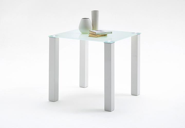 Tisch hanna esstisch kuchentisch weiss hochglanz glas 80 cm for Küchentisch glas