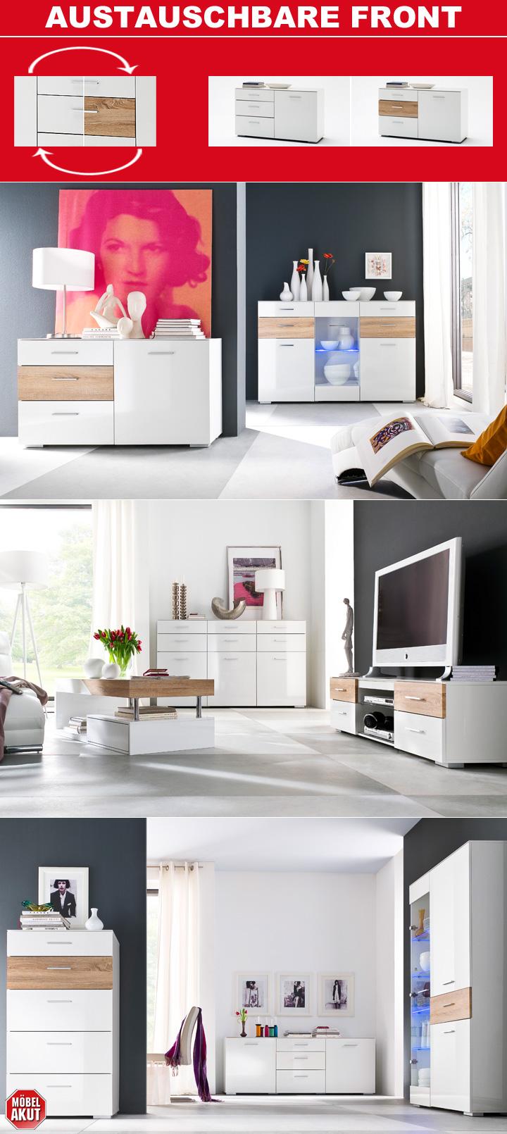 vitrine portland in wei hochglanz in sonoma eiche dekor. Black Bedroom Furniture Sets. Home Design Ideas