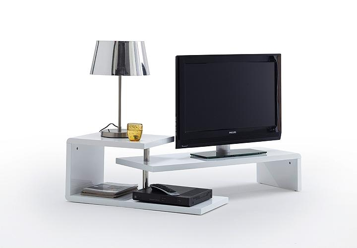 tv board samira lowboard in wei hochglanz und chrom mit drehfunktion ebay. Black Bedroom Furniture Sets. Home Design Ideas
