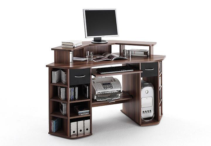 schreibtisch marvin walnuss schwarz. Black Bedroom Furniture Sets. Home Design Ideas