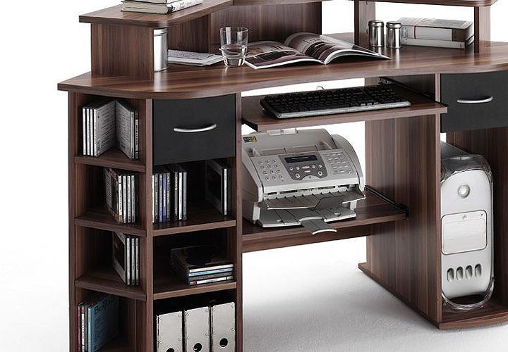 Schreibtisch MARVIN Computertisch Tisch In Walnuss Schwarz