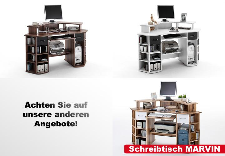 schreibtisch marvin walnuss schwarz. Black Bedroom Furniture Sets. Home Design Ideas