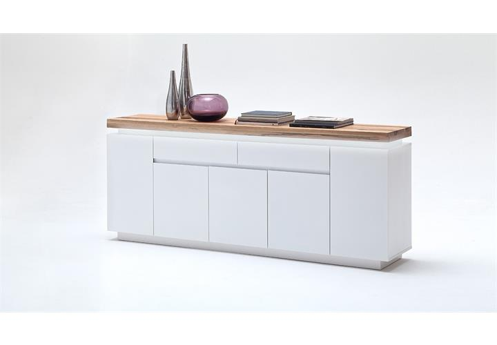 sideboard 3 romina wei matt lack eiche massiv inkl led. Black Bedroom Furniture Sets. Home Design Ideas
