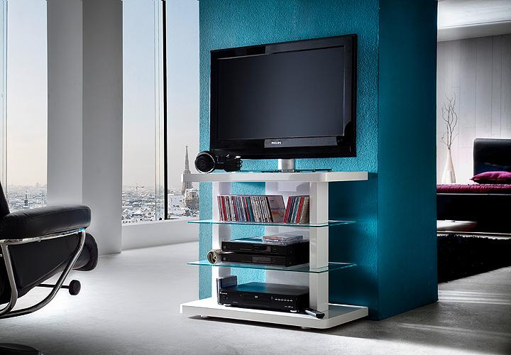 tv media rack tower tv regal in wei hochglanz lackiert glas. Black Bedroom Furniture Sets. Home Design Ideas