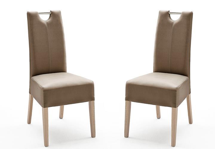 stuhl enya 2er set polsterstuhl st hle in eiche sonoma lederlook cappuccino ebay. Black Bedroom Furniture Sets. Home Design Ideas