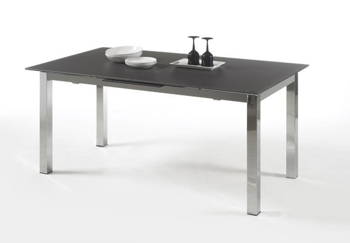 esstisch bento tisch mit glas in rauch ausziehbar 140 180. Black Bedroom Furniture Sets. Home Design Ideas