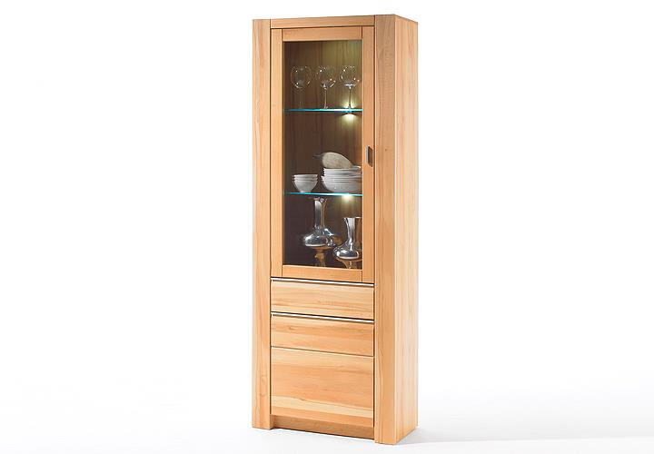 vitrine rila links schrank kernbuche teilmassiv wachseffektlack. Black Bedroom Furniture Sets. Home Design Ideas