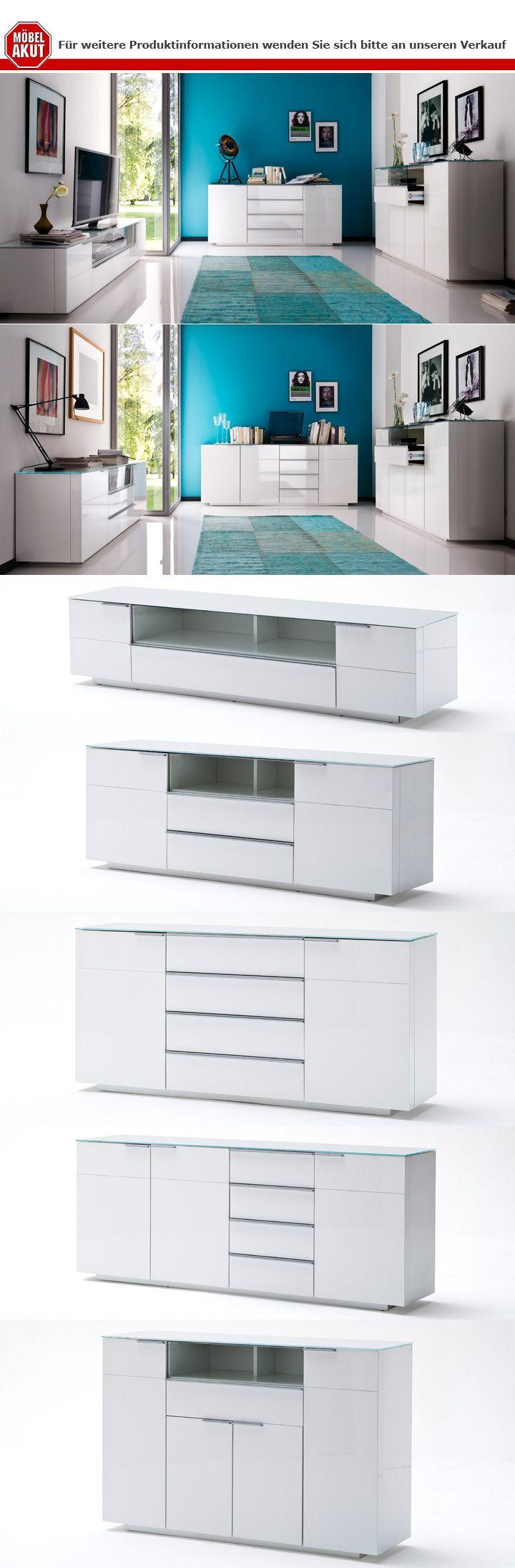 sideboard 1 canberra wei hochglanz lackiert glasplatte. Black Bedroom Furniture Sets. Home Design Ideas