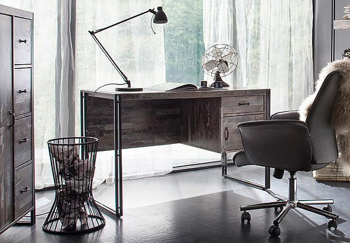 Schreibtisch java maracaibo metallrahmen schwarz lackiert for Wohnlandschaft java