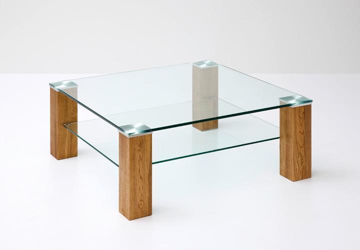 Couchtisch alma klarglas asteiche massivholz 90x90 cm for Couchtisch asteiche