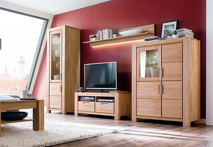 wohnwand 2 drive anbauwand in kernbuche massiv ge lt. Black Bedroom Furniture Sets. Home Design Ideas