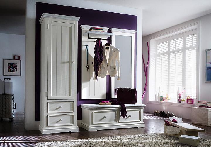 garderobenset 3 opus garderobe kiefer massiv wei vintage. Black Bedroom Furniture Sets. Home Design Ideas