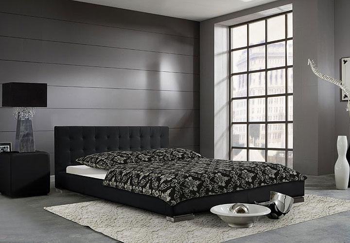 cello polsterbett schwarz chrom 140x200. Black Bedroom Furniture Sets. Home Design Ideas