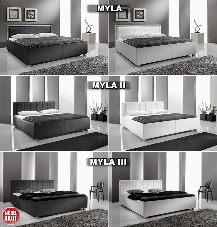 polsterbett myla iii bett in wei lederlook 180x200 cm ebay. Black Bedroom Furniture Sets. Home Design Ideas