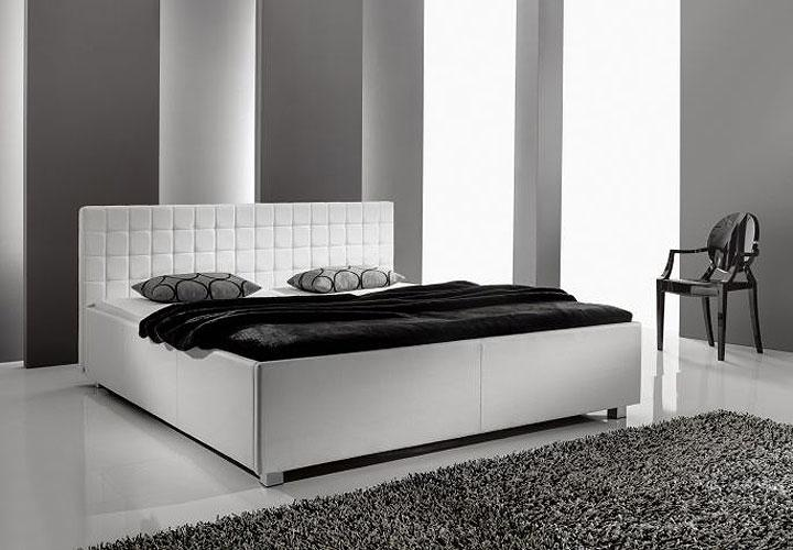 polsterbett myla iii bett in wei lederlook 140x200 cm. Black Bedroom Furniture Sets. Home Design Ideas