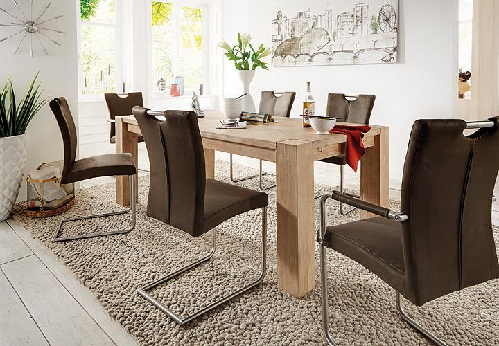schwingstuhl heike ii 4er set antik braun mit armlehne. Black Bedroom Furniture Sets. Home Design Ideas