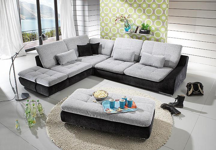 ecksofa spike sofa wohnlandschaft in wei grau und schwarz. Black Bedroom Furniture Sets. Home Design Ideas