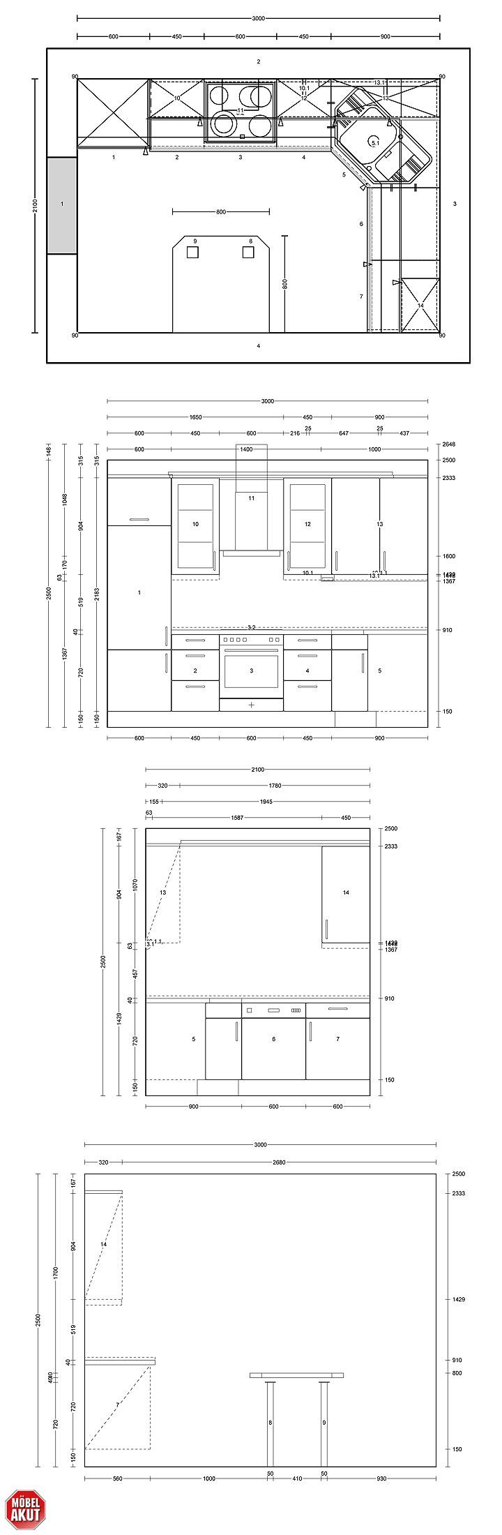 Maße Küchenblock jonpeeler info arbeitsplatte kuche maße design haus layout das