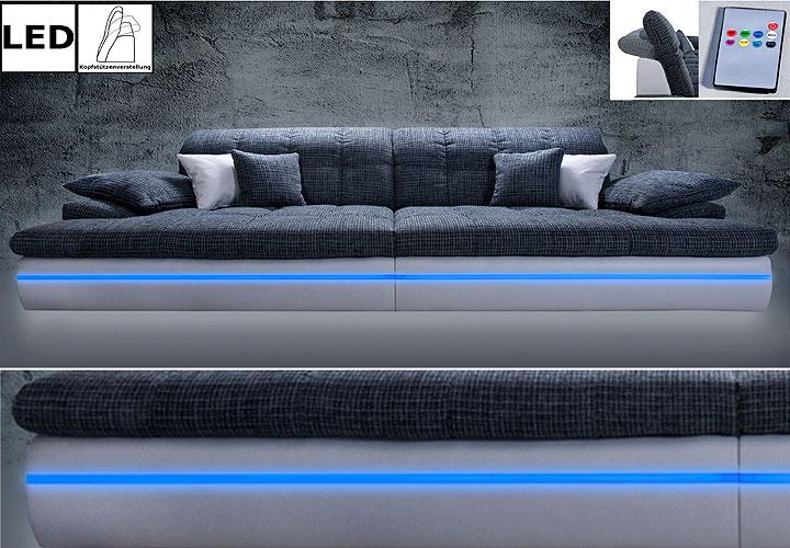big sofa almond couch in wei und grau mit rgb led beleuchtung neu. Black Bedroom Furniture Sets. Home Design Ideas