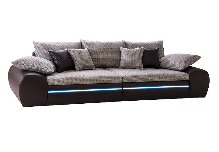 big sofa dubai megasofa wohnlandschaft mocca beige violett inkl rgb led ebay. Black Bedroom Furniture Sets. Home Design Ideas