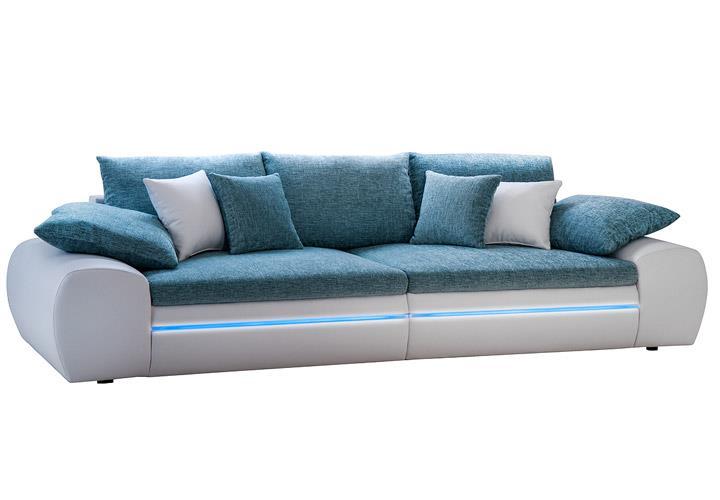 Megasofa blau  Big Sofa DUBAI Megasofa Wohnlandschaft weiß türkis inkl. RGB-LED ...