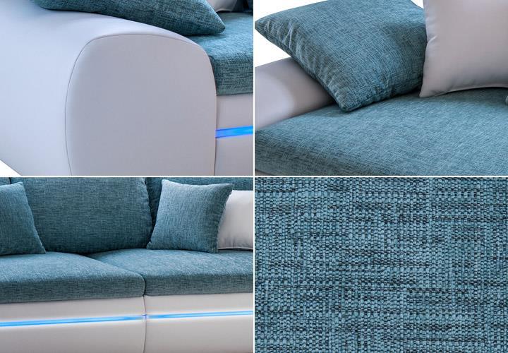 big sofa dubai in wei t rkis inklusive rgb led beleuchtung. Black Bedroom Furniture Sets. Home Design Ideas