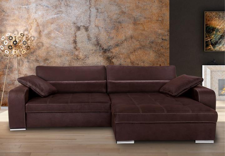 ecksofa tobago espresso braun und naht beige 294x180 cm. Black Bedroom Furniture Sets. Home Design Ideas