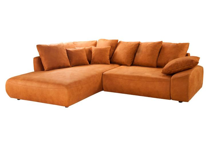 Ecksofa DAYTONA curry orange mit Bettfunktion links