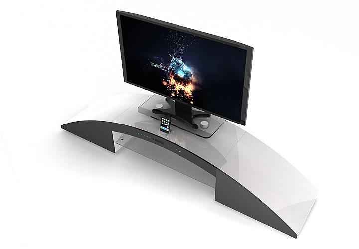 trek tv hifi board wei hochglanz lack mit multimedia station. Black Bedroom Furniture Sets. Home Design Ideas