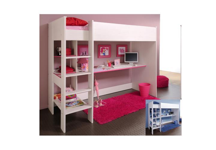 etagenbett smoozy in hochbett kinderbett bett kiefer wei blau oder pink 90x20 ebay. Black Bedroom Furniture Sets. Home Design Ideas